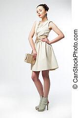 bonito, ficar, mulher, fasionable, vestido branco