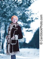 bonito, ficar, mulher, inverno, marrom, desgastar, agasalho, afastado, nevado, jovem, boina, olha, gelado, escandinavo, chapéu, floresta