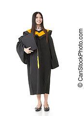 bonito, ficar, mulher, jovem, graduação, sorrindo