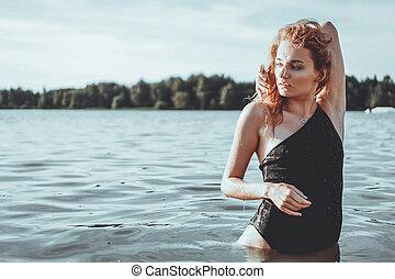 bonito, ficar, mulher, jovem, water.