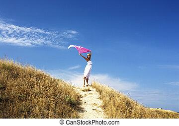 bonito, ficar, mulher, mar, vento, loura, retrato, vestido branco, echarpe