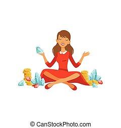 bonito, financeiro, dinheiro, vestido, dela, personagem, jovem, ricos, pedras, pernas, vermelho, apartamento, mulher, coloridos, sentando, sucedido, ilustração, precioso, desfrutando, sucesso, vetorial, cruzado