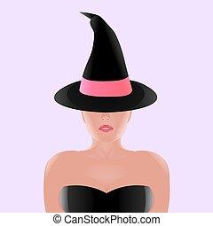 bonito, fita cor-de-rosa, feiticeira, chapéu preto