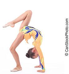 bonito, flexível, menina, ginasta, sobre, fundo branco