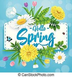 bonito, flor azul, insetos, primavera, fundo, olá