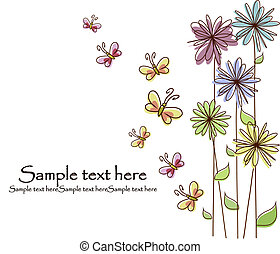 bonito, flor, cartão