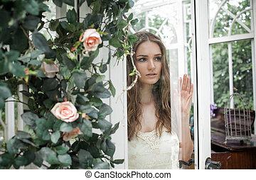 bonito, flor, mulher, jardim, ao ar livre