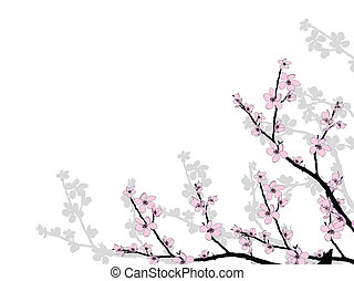 bonito, flor, ramo, cereja