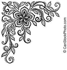 bonito, flor, renda, espaço, texto, preto-e-branco, corner.,...