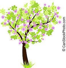 bonito, floral, flor, árvore, com, verde sai, e, flores
