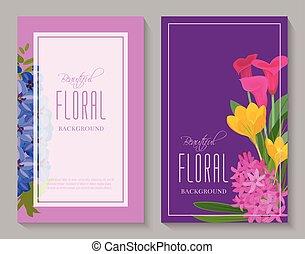bonito, floral, fundo, para, flor, lojas, ou, convite, cartões., bonito, luminoso, ornamento, vetorial, illustration., diferente, flores, tal, como, rosas, calla, yacinthus, tulip.