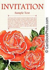 bonito, floral, invitations., casório