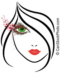 bonito, floral, olhos, menina, charming