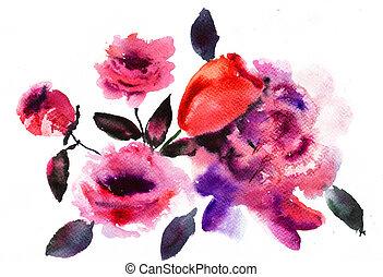 bonito, flores côr-de-rosa