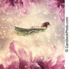 bonito, flores, gigante, mulher, jovem