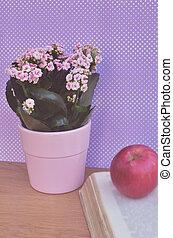 bonito, flores, livro, maçã