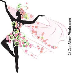 bonito, flores, mulher, silueta, dançar