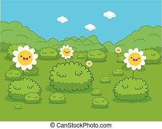 bonito, flores, prado verde