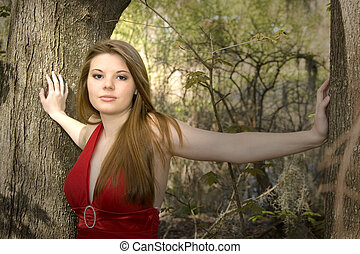 bonito, floresta, mulher