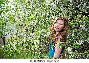 bonito, flowers., mulher, jovem