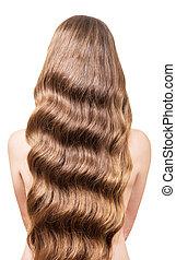 bonito, fluir, longo, cabelo ondulado, ligado, costas,...