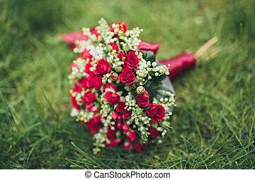 bonito, folhagem, capim, buquet, verde, flores