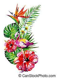 bonito, folhas, aquarela, flores brancas, vermelho