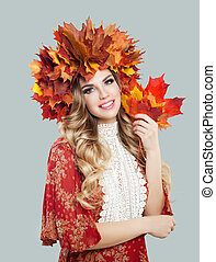bonito, folhas, coroa, outono, modelo, woman.