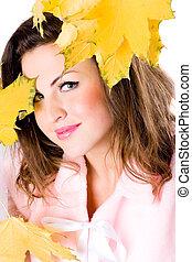 bonito, folhas, mulher, jovem, amarela