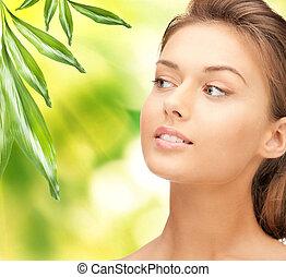 bonito, folhas, mulher, verde