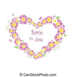 bonito, forma coração, floral