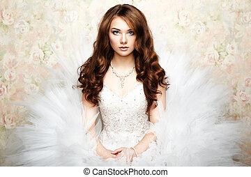 bonito, foto, bride., retrato, casório