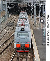 bonito, foto, de, alta velocidade, modernos, trem viajante, borrão moção