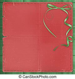 bonito, foto, invitations., página, experiência., verde, bow., ou