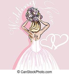 bonito, fundo cor-de-rosa, buquet, noiva