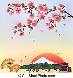 bonito, fundo, em, japoneses, estilo, com, sakura, flor, -, japoneses, cereja, árvore., japoneses, paisagem, vector., vetorial, ilustração