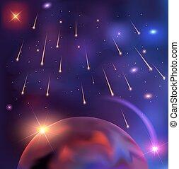 bonito, fundo, ilustração espaço, planeta, vetorial, estrelas, meteoro, flashes