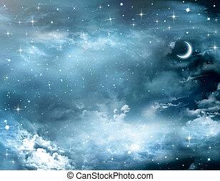 bonito, fundo, nightly, céu