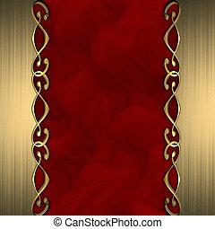 bonito, fundo, ouro, bordas, ornamentos, vermelho