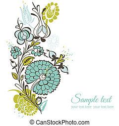 bonito, fundo, -, vetorial, casório, retro, scrapbook, projeto floral, flores