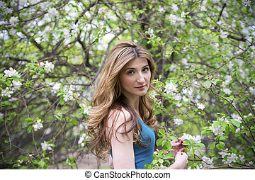 bonito, garden., mulher