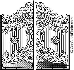 bonito, gates., ornamento, pretas, ferro, branca