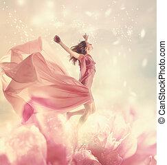 bonito, gigante, mulher, jovem, pular, flor