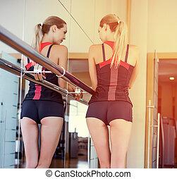 bonito, ginásio, adelgaçar, acoplado, condicão física, menina