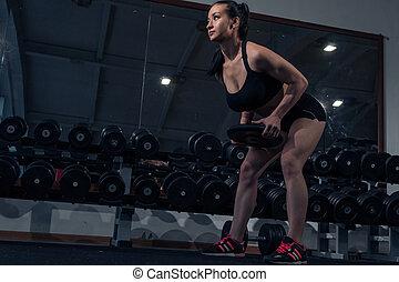 bonito, ginásio, menina, muscular