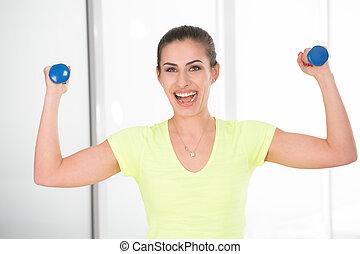 bonito, ginásio, mulher, sporty