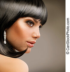bonito, girl., haircut., morena, penteado