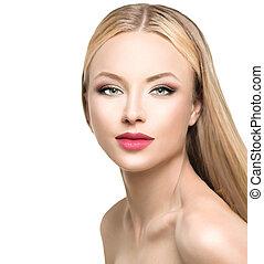 bonito, glamour, mulher, com, longo, loura, cabelo reto