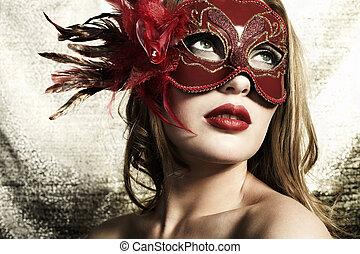 bonito, gol, mulher, máscara, jovem, veneziano, misteriosa, vermelho