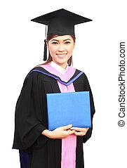 bonito, graduação, menina, segurando, dela, diploma